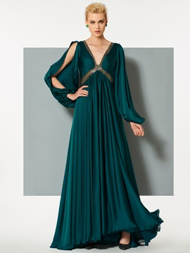 Unique A-Line Backless Empire Sequins V-Neck Long Sleeves Sweep Train Evening Dress & unusual Designer Dresses