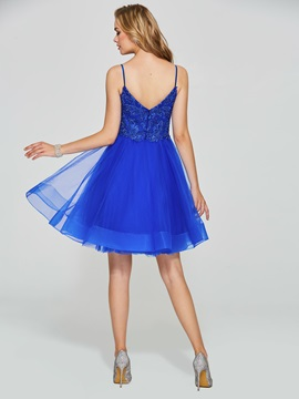 Fancy Appliques Beading Royal Blue Homecoming Dress