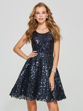 Gorgeous A-Line Scoop Sequins Mini Homecoming Dress