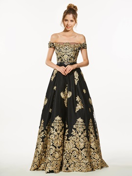 A-Line Off-the-Shoulder Appliques Beading Prom Dress