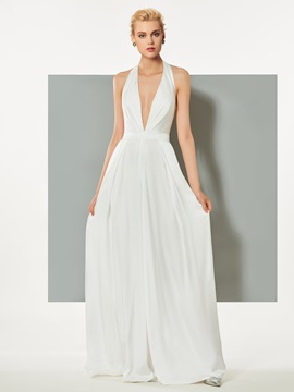Chic Sheath Halter Sleeveless Evening Jumpsuits & Designer Dresses on sale