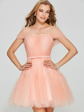 Pretty A-Line Short Sleeves Square Bowknot Mini Homecoming Dress & Designer Dresses under 100