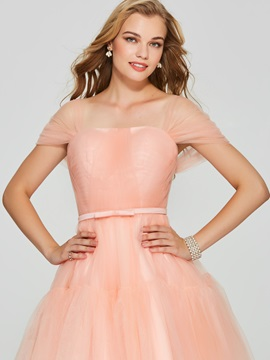 A-Line Square Bowknot Homecoming Dress