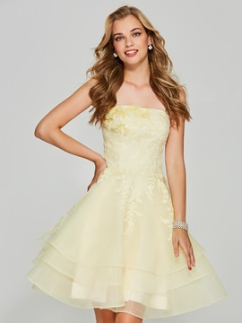 Sweet A-Line Appliques Strapless Sleeveless Mini Homecoming Dress & Designer Dresses for less