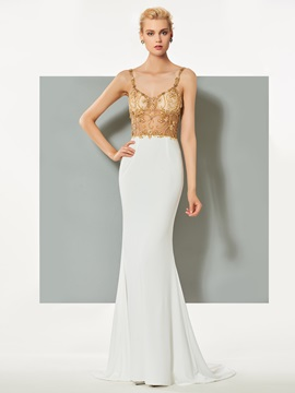 Gorgeous Mermaid Spaghetti Straps Beading Sweep Train Evening Dress & Designer Dresses online
