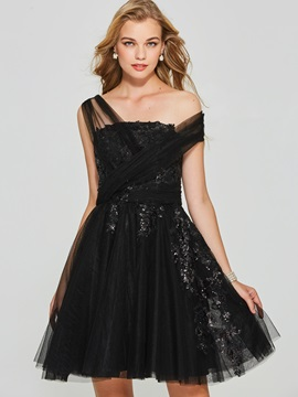 Appliques Sequins One-Shoulder Homecoming Dress