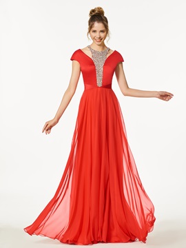 Fancy A-Line Beading Scoop Cap Sleeves Floor-Length Prom Dress