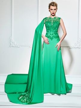 Stylish A-Line Lace Bateau Sashes Court Train Evening Dress & Designer Dresses under 500