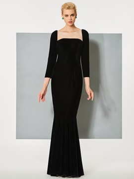 Bateau Mermaid Button Velvet Evening Dress & formal Designer Dresses