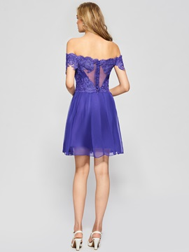 A-Line Off-the-Shoulder Button Lace Homecoming Dress