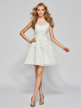 Button Back Appliques Ivory Homecoming Dress