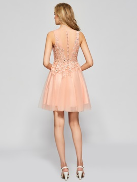 Charming A-Line Appliques Beading Button Scoop Short Homecoming Dress