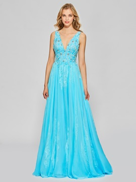 Charming A-Line Appliques Beading Floor-Length Prom Dress & unique Designer Dresses
