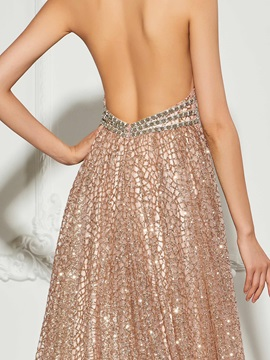 Halter Backless Beading Sequins Evening Dress