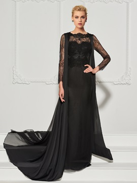 Stylish A-Line Lace Scalloped-Edge Watteau Train Evening Dress