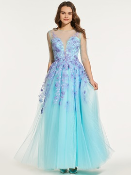 Button A-Line Half Sleeves Appliques Scoop Prom Dress & Designer Dresses under 100