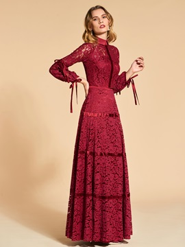 Chic A-Line Lace 3/4 Length Sleeves High Neck Evening Dress & Designer Dresses for sale