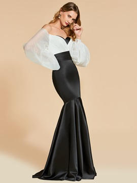 Mermaid Off-the-Shoulder White and Black Long Evening Dress & colorful Designer Dresses