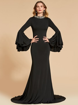 Beaded Trumpet Long Sleeves Court Train Evening Dress & Designer Dresses under 500