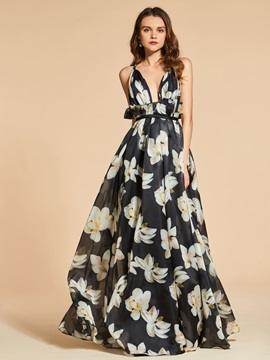 A-Line Spaghetti Straps Printed Evening Dress & Designer Dresses for sale