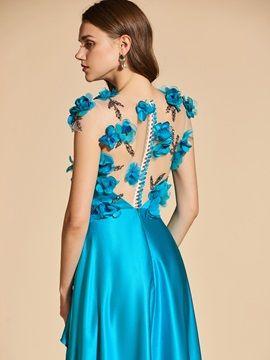 Sheer Neck Flowers Beading Button Prom Dress