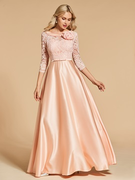 Bowknot 3/4 Length Sleeves Lace Prom Dress