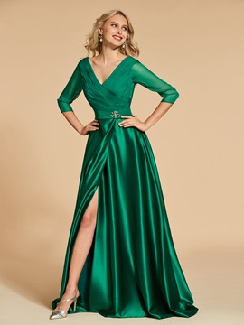 Ruched A-Line Beading Pockets Split-Front Evening Dress & colored Designer Dresses