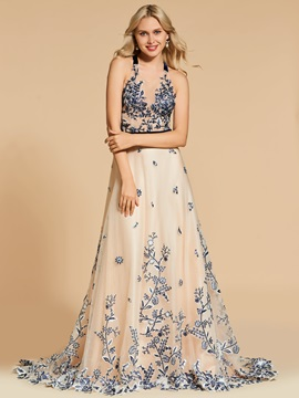 Lace Straps A-Line Sweep Train Evening Dress & colorful Designer Dresses