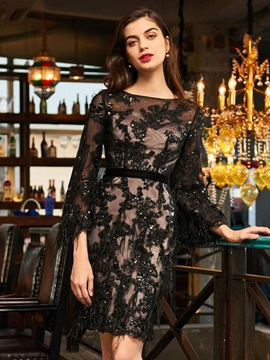 Bateau Appliques Beading Lace Cocktail Dress & Designer Dresses from china