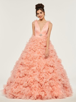 Cascading Ruffles V-Neck Beading Quinceanera Dress & Designer Dresses on sale