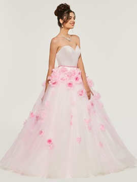 Flowers Sweetheart Tulle Quinceanera Dress & Designer Dresses 2012