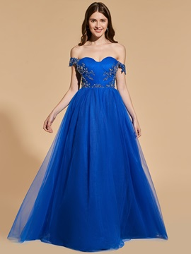 A-Line Appliques Beading Button Prom Dress & fairytale Designer Dresses