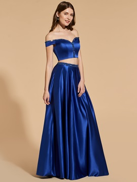 A-Line Beading Two Pieces Prom Dress