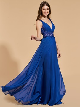 A-Line Appliques V-Neck Prom Dress & inexpensive Designer Dresses