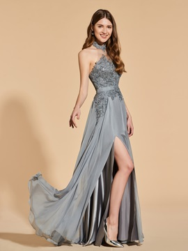 A-Line Halter Appliques Backless Prom Dress