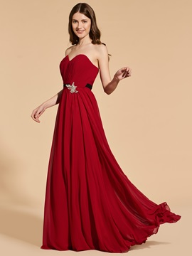 A-Line Sweetheart Sashes Pleats Prom Dress