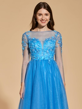 A-Line Long Sleeves Button Prom Dress