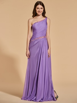 Beading Sheath One-Shoulder Pleats Prom Dress
