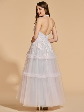 A-Line Backless Lace Halter Prom Dress