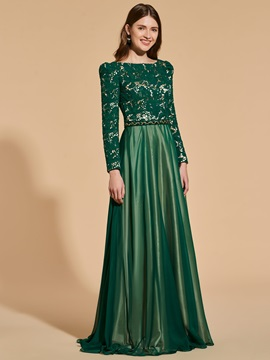 A-Line Beading Sashes Lace Prom Dress