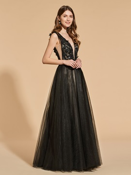 A-Line Appliques Lace Beading Prom Dress