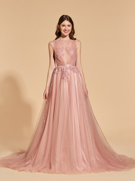 A-Line Beading Button Bateau Lace Sashes Prom Dress & romantic Designer Dresses