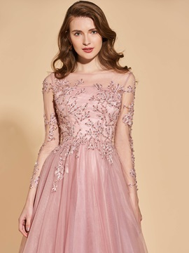 Appliques Beading Button Long Sleeves Evening Dress