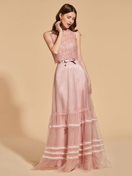 Scoop Lace Button Sashes Prom Dress