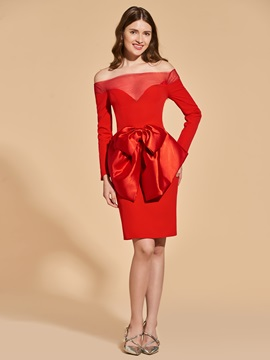 Sheath Empire Bowknot Off-the-Shoulder Cocktail Dress & fairytale Designer Dresses