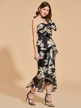 Sweetheart Printed Ruffles Empire Bowknot Cocktail Dress & informal Designer Dresses