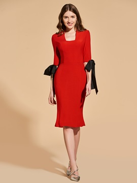 Sheath Bowknot Knee-Length Square Cocktail Dress & Designer Dresses from china
