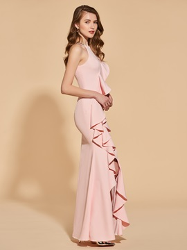 Beading Split-Front Scoop Trumpet Ruffles Evening Dress