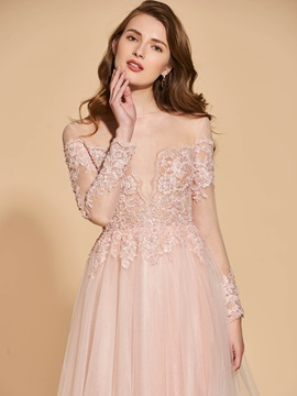 Illusion Neck Appliques Beading Long Sleeves Prom Dress
