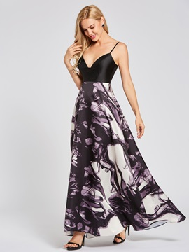Spaghetti Straps Printed A Line Evening Dress & Designer Dresses on sale